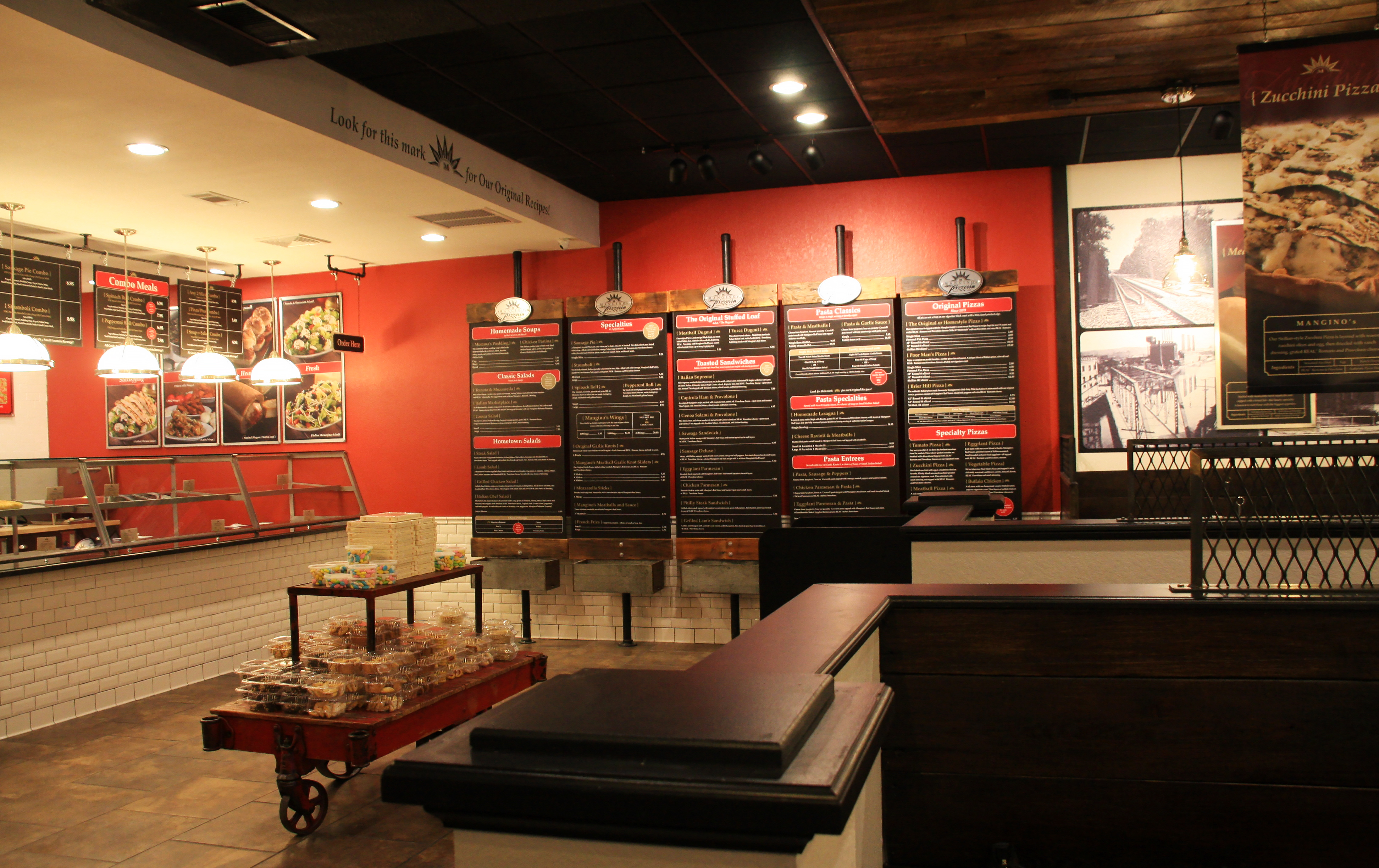 pizza pasta italian specialties now being served in manginos new family style restaurant