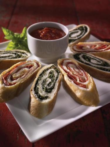 Pepperoni & Spinach Rolls (shown sliced)